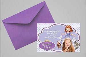 Convite 10x15 Princesa Sofia 003 com foto