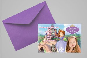 Convite 10x15 Princesa Sofia 004 com foto