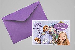 Convite 10x15 Princesa Sofia 005 com foto