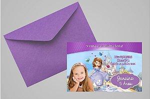 Convite 10x15 Princesa Sofia 006 com foto