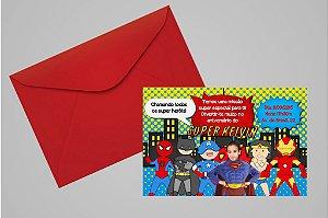 Convite 10x15 Super Herois 001 com foto