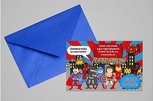 Convite 10x15 Super Herois Kidsart
