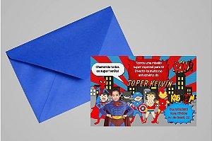 Convite 10x15 Super Herois 002 com foto