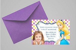 Convite 10x15 Alice no país das maravilhas 002 com foto