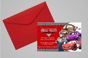 Convite 10x15 Carros da Disney 001 com foto