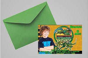 Convite 10x15 Tartarugas Ninja 002 com foto
