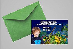Convite 10x15 Tartarugas Ninja 003 com foto