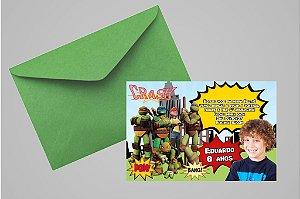 Convite 10x15 Tartarugas Ninja 005 com foto