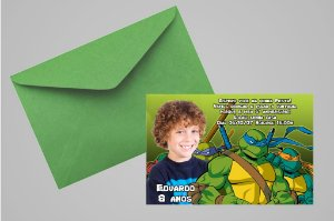 Convite 10x15 Tartarugas Ninja 008 com foto
