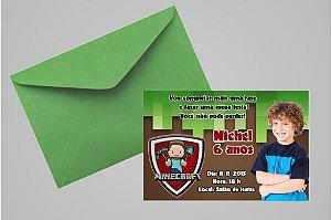 Convite 10x15 Minecraft 001 com foto