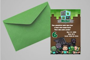 Convite 10x15 Minecraft 008