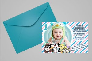 Convite 10x15 Baby Looney Tunes 002 com foto