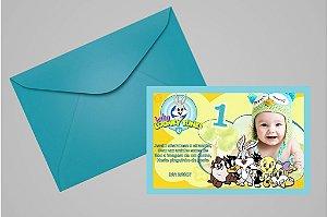 Convite 10x15 Baby Looney Tunes 003 com foto