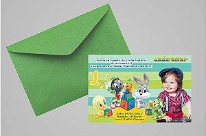 Convite 10x15 Baby Looney Tunes 008 com foto