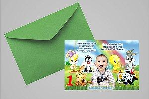 Convite 10x15 Baby Looney Tunes 011 com foto