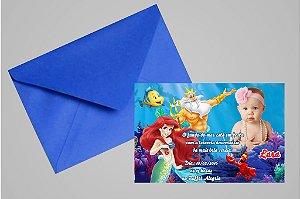 Convite 10x15 Pequena Sereia 008 com foto