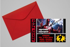 Convite 10x15 Deadpool 001
