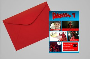 Convite 10x15 Deadpool 005 com foto