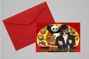 Convite 10x15 Kung Fu Panda 001 com foto