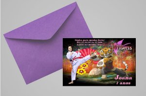 Convite 10x15 Kung Fu Panda 011 com foto
