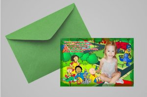 Convite 10x15 Caillou 008 com foto