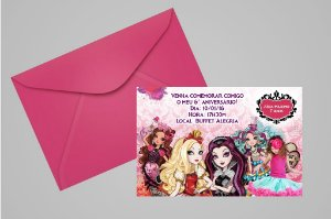 Convite 10x15 Ever After High 004 com foto