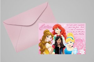 Convite 10x15 Princesas Disney 020 com foto