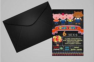 Convite 10x15  Os Três Porquinhos 016