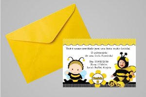 Convite 10x15  Abelhas 002 com foto