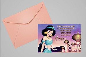 Convite 10x15 Princesa Jasmine Aladdin 001