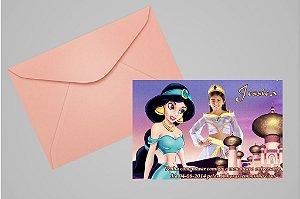 Convite 10x15 Princesa Jasmine Aladdin 001 com foto