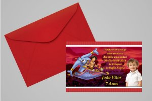 Convite 10x15 Aladdin 004 com foto