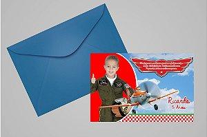 Convite 10x15 Aviões da Disney 001 com foto