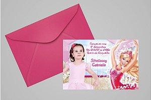 Convite 10x15 Barbie 006 com foto