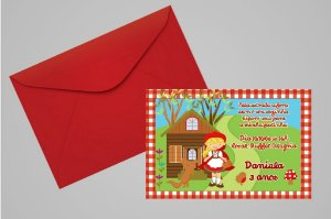 Convite 10x15 Chapeuzinho Vermelho 003