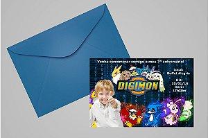 Convite 10x15 Digimons 001 com foto