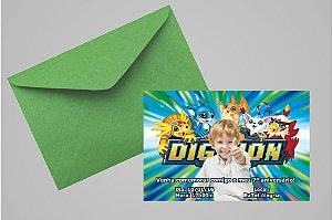 Convite 10x15 Digimons 003 com foto