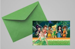 Convite 10x15 Fadas Disney 019 com foto