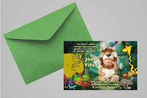 Convite 10x15 Floresta Encantada 004 com foto
