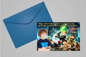 Convite 10x15 Lego Star Wars 003 com foto