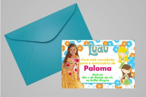 Convite 10x15 Luau 002 com foto