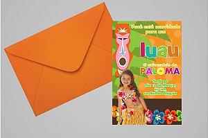 Convite 10x15 Luau 005 com foto