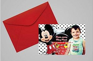 Convite 10x15 Mickey Mouse 007 com foto