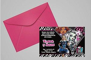 Convite 10x15 Monster High 002 com foto