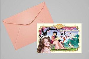 Convite 10x15 Mulan 005 com foto