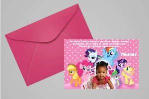 Convite 10x15 My Little Pony 010 com foto