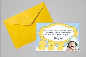 Convite 10x15 Patinho Amarelinho 006 com foto