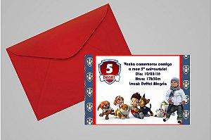 Convite 10x15 Patrulha Canina 002 com foto