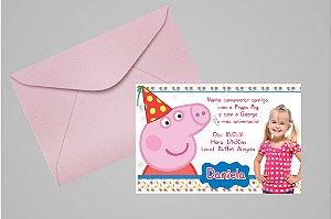 Convite 10x15 Peppa Pig 002 com foto