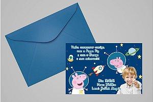 Convite 10x15 Peppa Pig 006 com foto